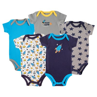 Luvable Friends Baby Boys' 5 Pack Bodysuits - Rocket 3-6M