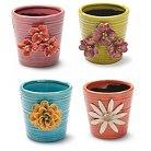 """Foreside Home & Garden """"4"""" Ceramic Flower Pots - Set of 4"""