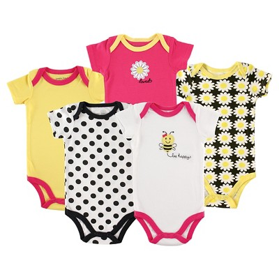 Luvable Friends Baby 5 Pack Bodysuits - Bee 9-12M