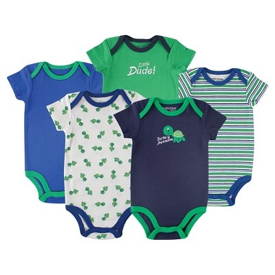 Luvable Friends Baby Boys' 5 Pack Bodysuits - Turtle 9-12M