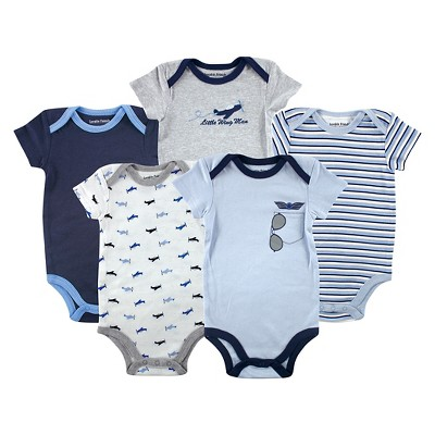 Luvable Friends Baby Boys' 5 Pack Bodysuits - Airplane 6-9M