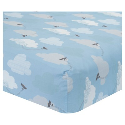 Lambs & Ivy Crib Sheet - Silver Cloud