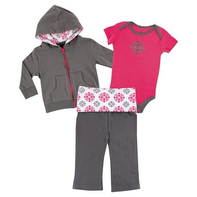 Yoga Sprout Baby Girls' Hoodie, Bodysuit & Yoga Pants Set - Medallion 18M
