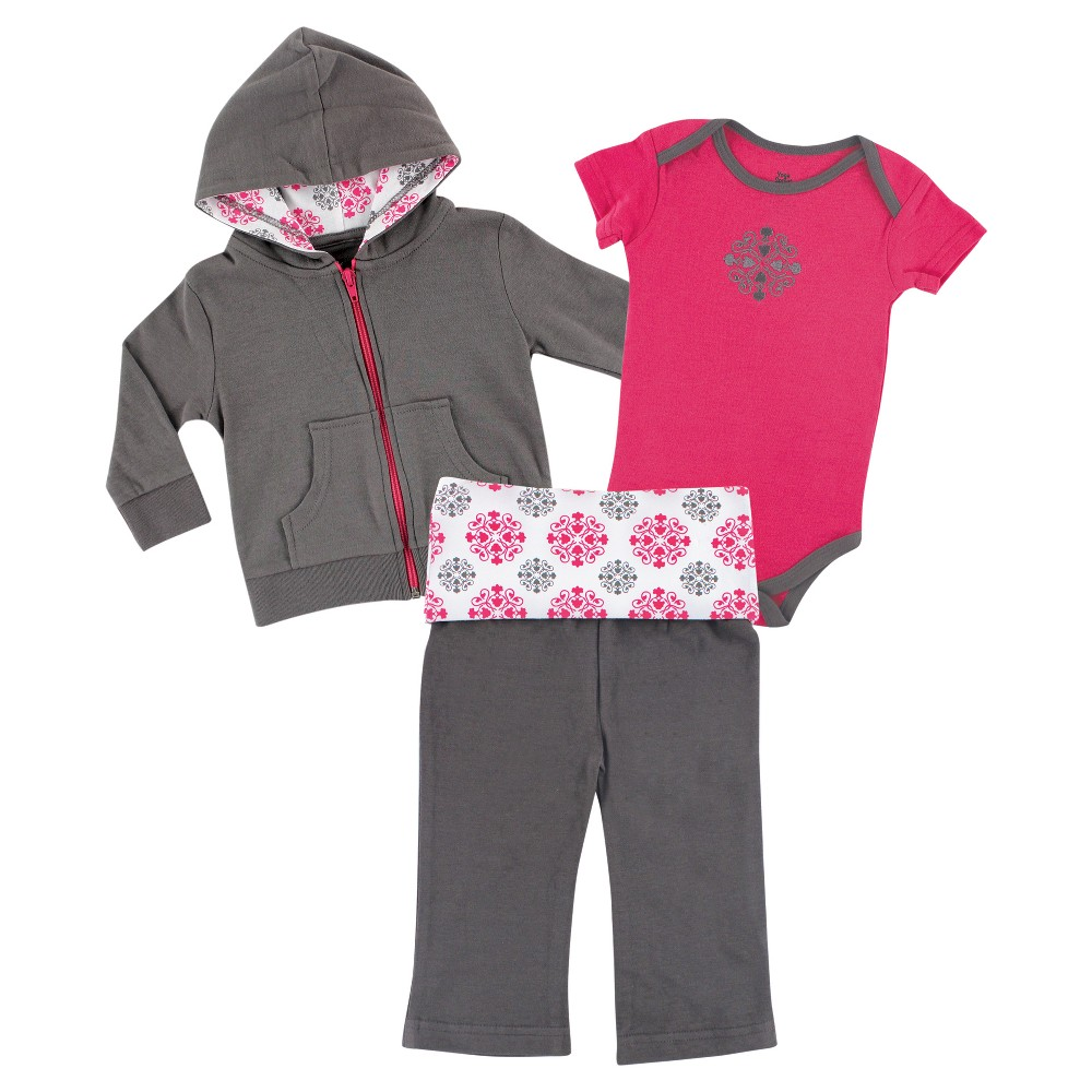 Yoga Sprout Baby Girls' Hoodie, Bodysuit & Yoga Pants Set - Medallion 18M, Infant Girl's, Size: 18 M, Grey