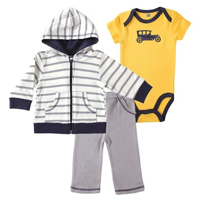 Yoga Sprout Baby Boys' Hoodie, Bodysuit & Pants Set - Car 0-3M