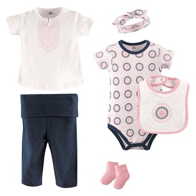 Yoga Sprout Baby Girls' 6 Piece Set - Ornamental 3-6M