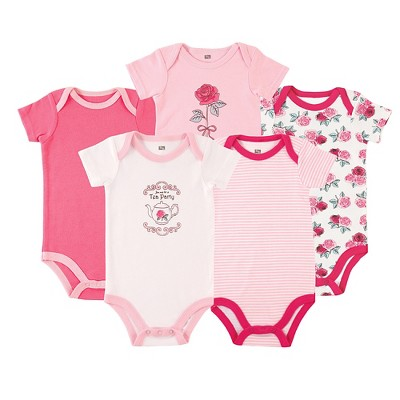 Luvable Friends Baby Girls' 5 Pack Bodysuits - Roses 9-12M