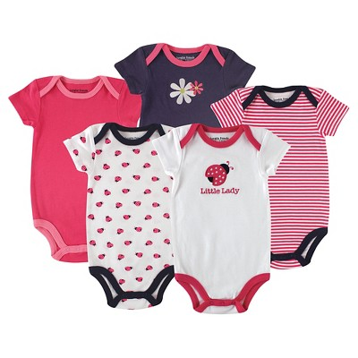 Hudson Baby Newborn Girls' 5 Pack Bodysuits - Ladybug 3-6M