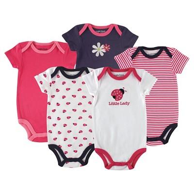 Hudson Baby Newborn Girls' 5 Pack Bodysuits - Ladybug 9-12M