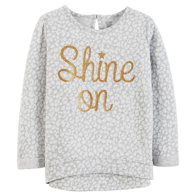 Just One You® Made by Carter's® Girls' Long Sleeve Shine On Top Grey 6