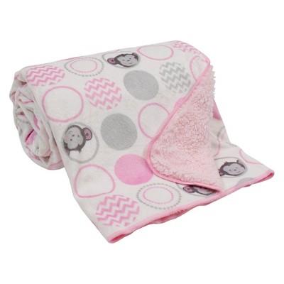 Lambs & Ivy Velour Sherpa Blanket - Pinkie