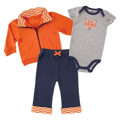 Yoga Sprout Baby Jacket, Bodysuit & Pants Set - Fox 0-3M