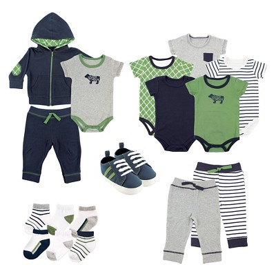 Yoga Sprout Baby Boys' 17 Piece Gift Set - Bear 9-12M