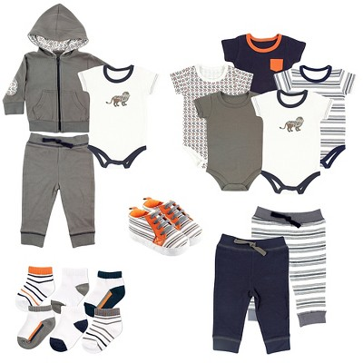 Yoga Sprout Baby Boys' 17 Piece Gift Set - Lion 0-3M
