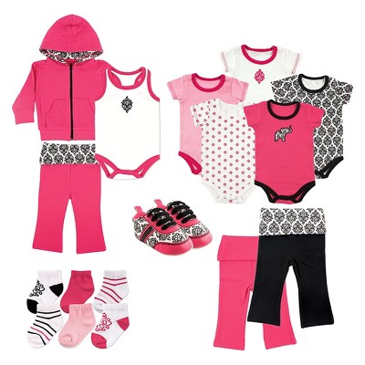 Yoga Sprout Baby Girls' 17 Piece Gift Set - Damask 3-6M