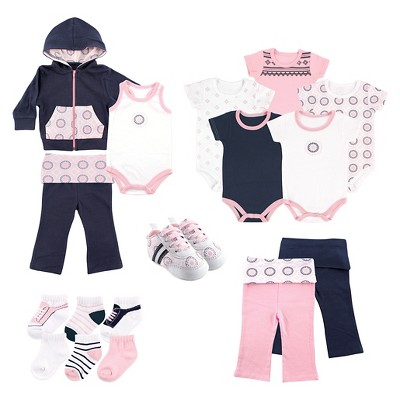 Yoga Sprout Baby Girls' 17 Piece Gift Set - Ornamental 9-12M