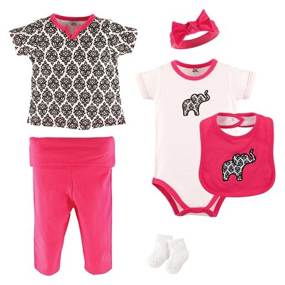 Yoga Sprout Baby Girls' 6 Piece Set - Damask 3-6M