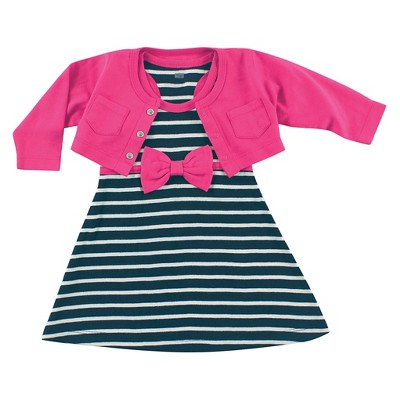 Hudson Baby Newborn Girls' Cropped Cardigan with Racerback Dress - Berry 3-6M