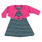 Hudson Baby Newborn Girls' Cropped Cardigan with Racerback Dress - Berry