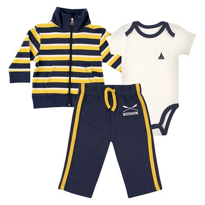 Hudson Baby Newborn Boys' Jacket, Bodysuit & Pants Set - Rowing 6-9M