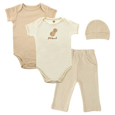 Touched By Nature Baby Organic 4 Piece Gift Set - Peanut