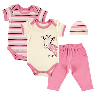 Touched By Nature Baby Girls' Organic 4 Piece Gift Set - Giraffe