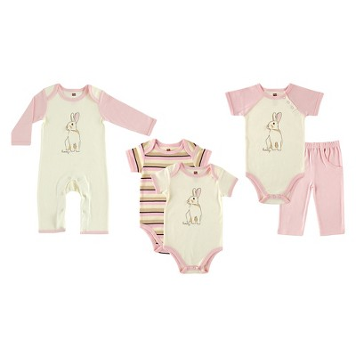Touched By Nature Baby Girls' Organic 5 Piece Gift Set - Bunny 3-6M