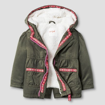 Baby Girls' Military Jacket with Sherpa Lining Baby Cat & Jack™ - Green 12M