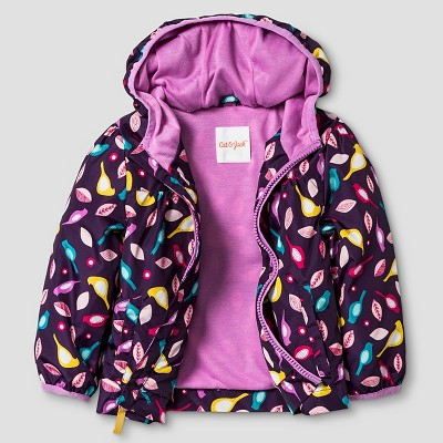 Baby Girls' Bird Print Windbreaker Jacket Baby Cat & Jack™ - Purple 12M