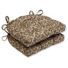 "Pillow Perfect Glam Packed Gilt Reversible Chair Pad (Set of 2) - Gold (16x15.5x4"")"
