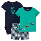 Just One You™Made by Carter's® Baby Boys' 3pc Gingham Set - Teal/Navy NB