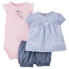 Just One You™Made by Carter's® Baby Girls' 3pc Floral Bird Set - Pink/Blue NB