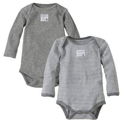 Burt's Bees Baby™ Newborn Bee Essentials 2 Pack Long Sleeve Bodysuits - Heather Grey 3-6M