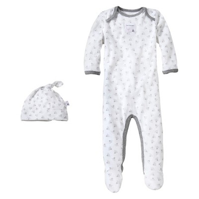 Burt's Bees Baby™ Newborn Bee Essentials Coverall & Hat Set - Heather Grey 0-3M