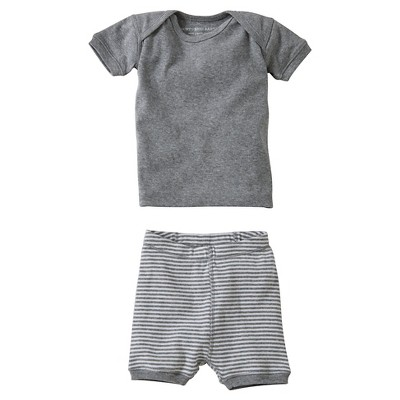 Burt's Bees Baby™ Newborn Bee Essentials Short Sleeve Tee & Short Set - Heather Grey 6-9M