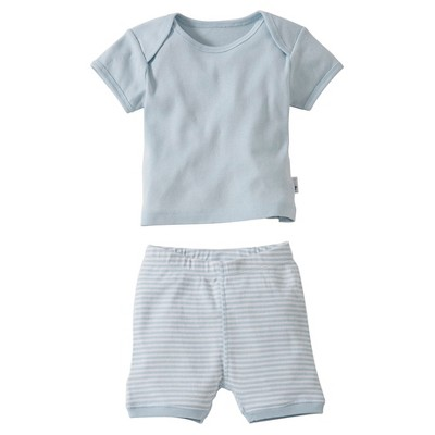 Burt's Bees Baby™ Newborn Bee Essentials Short Sleeve Tee & Short Set - Blue 3-6M