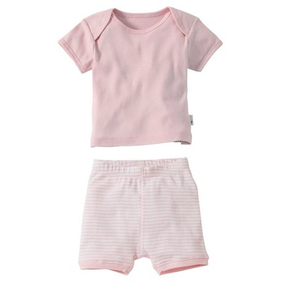 Burt's Bees Baby™ Newborn Bee Essentials Short Sleeve Tee & Short Set - Blossom 3-6M