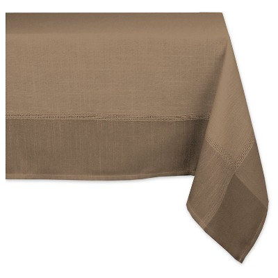 "Polyester Border Tablecloth - 60 X 84"" - Brown"