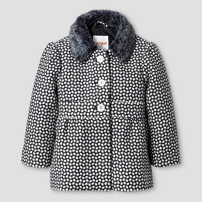 Baby Girls' Dress Coat with Faux Fur Collar Baby Cat & Jack™ - Grey 12M