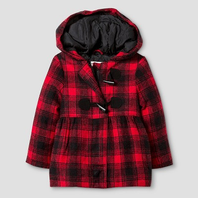 Baby Girls' Plaid Toggle Coat with Hood Baby Cat & Jack™ - Red 12M