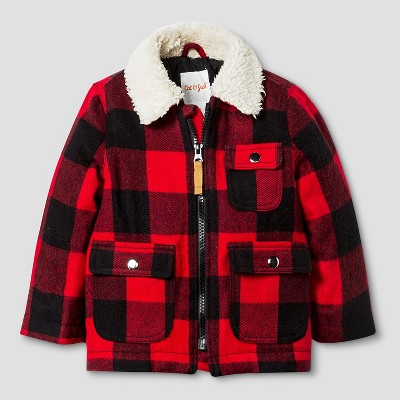 Baby Boys' Plaid Jacket with Faux Fur Collar Baby Cat & Jack™ - Red 18M