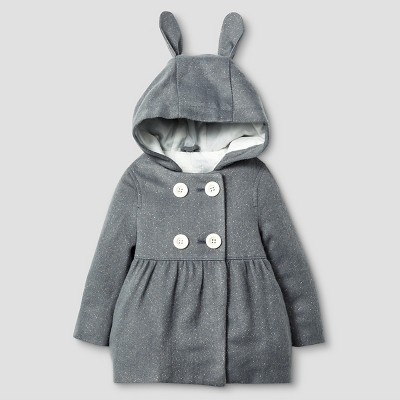 Baby Girls' Peacoat with Bunny Ears Baby Cat & Jack™ - Grey 12M