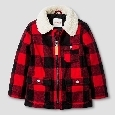 Toddler Boys' Plaid Jacket with Faux Fur Collar Cat & Jack™ - Red 2T
