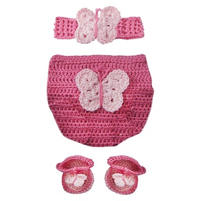 Baby Girls Butterfly Crochet Diaper Cover Set Photo Prop