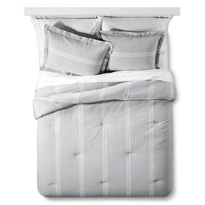 Linen Stripe Duvet Cover Set Queen Slate - The Industrial Shop™