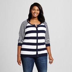 Women's Plus Size3/4 Sleeve Favorite Cardigan Navy and White - Merona ™