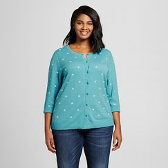 Women's Plus Size 3/4 Sleeve Favorite Cardigan Turquoise Dot - Merona ™