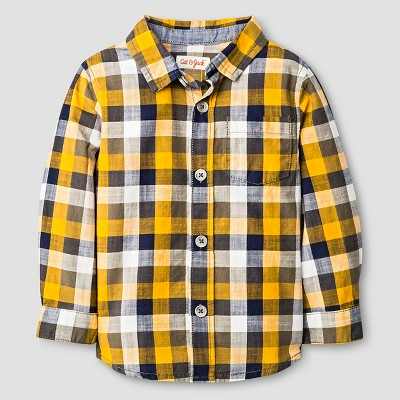 Baby Boys' Button Down Shirt Baby Cat & Jack™ - Navy & Yellow Plaid 12 M