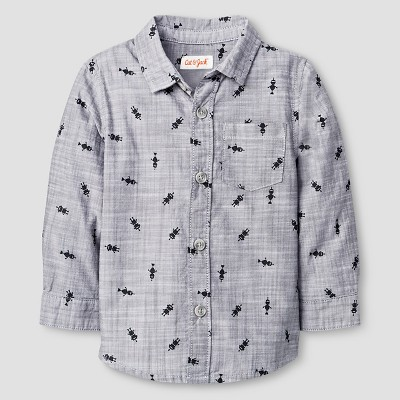 Baby Boys' Button Down Shirt Baby Cat & Jack™ - Charcoal 12 M