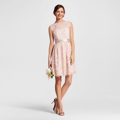 Women's Scalloped Lace Illusion Dress Porcelain Pink - 10 - Tevolio